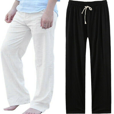 Mens Loose Pants Beach Drawstring Yoga Elasticated Silky Linen Style Trousers UK