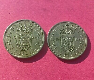 1953 Scottish and English Crest One Shilling coins Elizabeth II Two British Coin