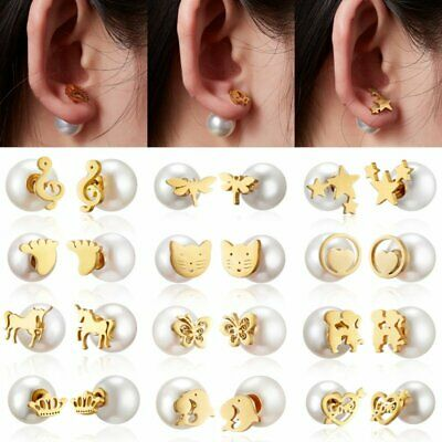Stainless Steel Gold Pearl Hollow Animal Heart Stud Earrings Women Jewelry Gift