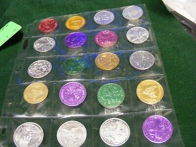Lot of 20 Genuine New Orleans Mardi Gras ETC.Doubloons,years 1967, 70s,80s,.(F)