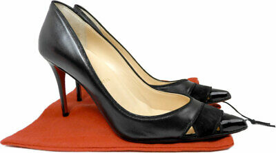 40eae9fd5b7 CHRISTIAN LOUBOUTIN Biblio Black Leather 85mm Red Sole Pumps Shoes 39