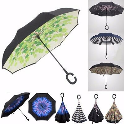 Windproof Double Layer Umbrella Upside Down Inverted Reverse C-Handle