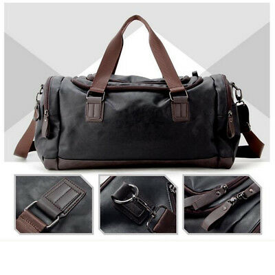 Large Men's Leather Sports Duffle Bag Tote Handbag Travel Gym Fitness Bags
