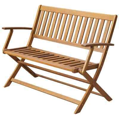 2-Seater Patio Garden Chair Bench with Backrest Armrest 120cm Solid Acacia Wood