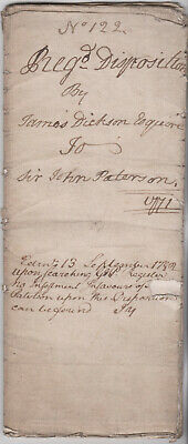 1771 Old Document Disposition James Dickson to Sir John Paterson