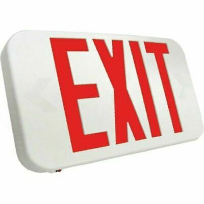 Case of 4 SEEXARWEM Compact LED Exit Sign, Red Lettering w/ Emergency Backup