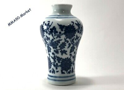 Vintage  With Painted Hand Antique - Vase White Blue Porcelain Floral Chinese