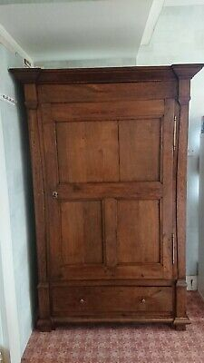 Beautiful Antique Oak Wardrobe, Luxembourg 19th century. Includes shelves.
