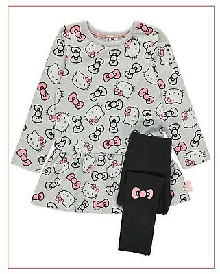 New Baby Girls Hello Kitty Tunic Clothing Kitty Character Top & Leggings Outfit