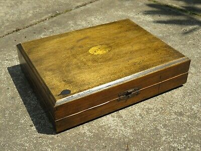 Antique Wooden Cutlery Box With Brass Fittings