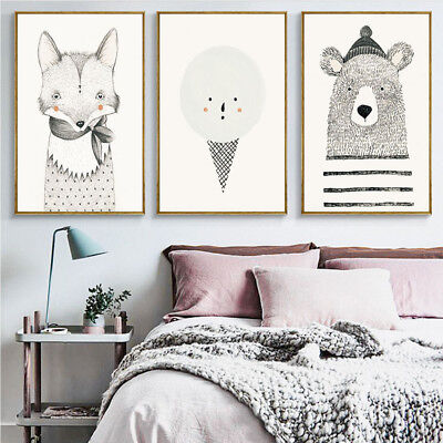 CO_ AU_ Cartoon Bear Fox Canvas Painting Wall Art Picture Poster Kids Home Decor
