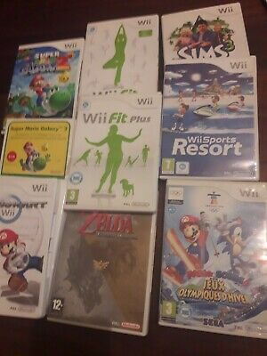 Lot Jeux Wii Fit Plus Super Mario Galaxy 2 Sonic JO Mario Kart Sims 3 zelda