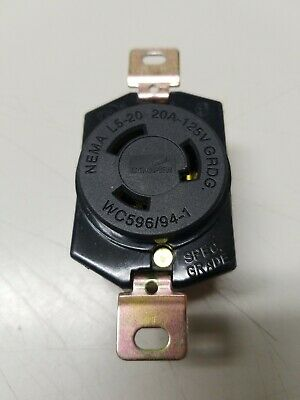 Cooper L520R , L5-20R Locking Receptacle 20A 125VAC 2 Pole 3 Wire Grounding.