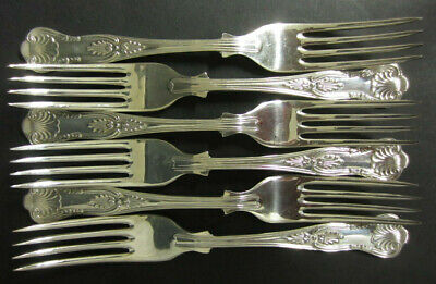 Vintage Set Of 6 Silver Plated Kings Pattern Dessert Forks - Epns A1