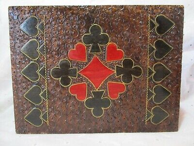 VINTAGE Double Deck Playing Card Hand Carved & Painted Poland Wood Box 6.25""