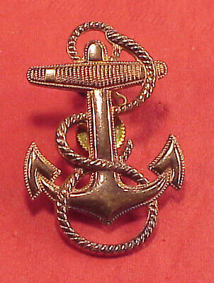 BRASS USN US Navy Fouled Ship Anchor Cap Badge Screw Back Pin OLD Insignia