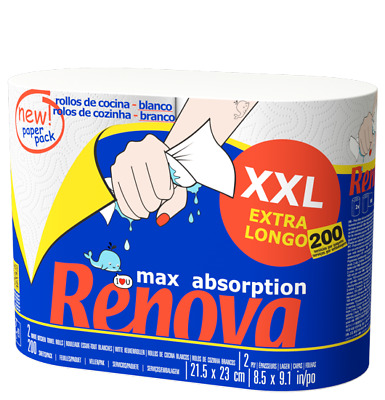 Renova Max Absorption XXL 2 Ply Kitchen Towel Rolls - Pack of 12 (24 Rolls)