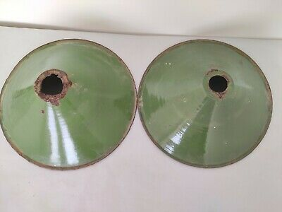 Pair Of Old Antique Very Rare  Green  Iron Porcelain Enamel Lamp Shade G4