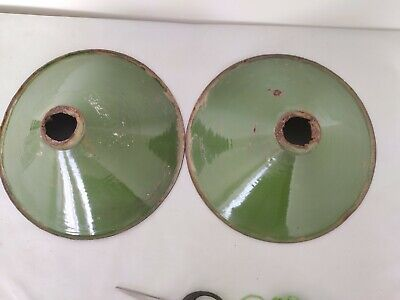 Pair Of Old Antique Very Rare Green Iron Porcelain Enamel Lamp Shade G6