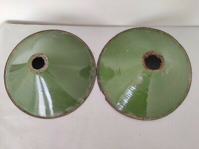 Pair Of Old Antique Very Rare Green Iron Porcelain Enamel Lamp Shade G7
