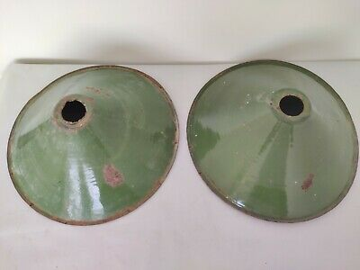 Pair Of Old Antique Very Rare Green Iron Porcelain Enamel Lamp Shade G8