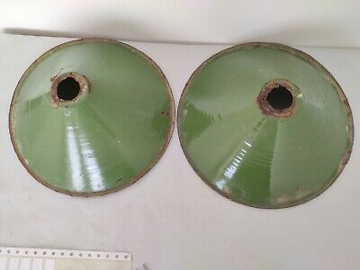 Pair Of Old Antique Very Rare Green Iron Porcelain Enamel Lamp Shade G9