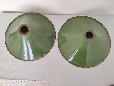 Pair Of Old Antique Very Rare Green Iron Porcelain Enamel Lamp Shade G10