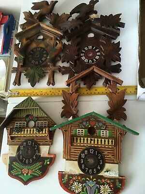 Assorted Used Cuckoo Clock Fronts And Pediments - Spares/repair
