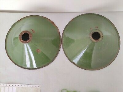 Pair Of Old Antique Very Rare Green Iron Porcelain Enamel Lamp Shade G11