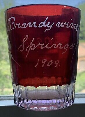 1909 Brandywine Springs, De, Ruby Red Flash Whiskey Glass, Juice Tumbler, Aouw