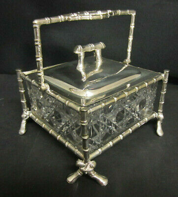 Late 19Th Century Silver Plate & Cut Glass Faux Bamboo Butter / Preserve Dish