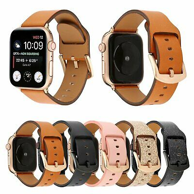 40/44mm Genuine Leather iWatch Band Strap for Apple Watch Series 5 4 3 2 38/42mm