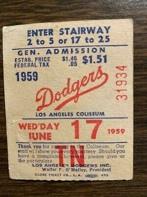 Sandy Koufax Career Win 23 Ticket stub June 17, 1959 Los Angeles Dodgers HOF