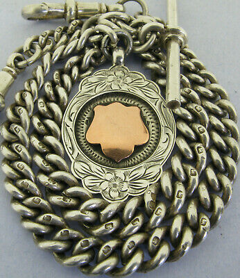 Antique Solid Silver Double Albert Pocket Watch Chain T-Bar Fob Chester 1937