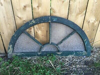 Antique 5 Lite Arched Dome Top Half Round Window Sash Sunburst Old Vtg 91-19J
