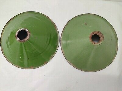 Pair Of Old Antique Very Rare Green Iron Porcelain Enamel Lamp Shade G12