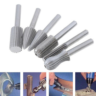 6pcs 6mm Shank Tungsten Steel Rotary File Cutter Engraving Grinding Bit Tools ZX