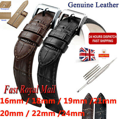 Men's Genuine Leather Watch Strap Band Black Brown 16mm 18mm 19mm 20mm 22mm 24mm