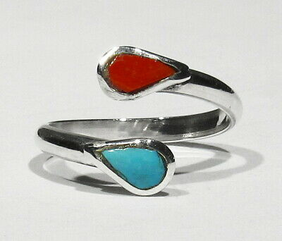 Vintage 1950s Zuni Natural Turquoise Coral 925 Silver Wrap Ring size 5 to 6.5+
