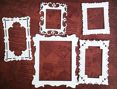 Pack of Mixed Picture Frame style Die-cuts With Delicate Detail (white) 10 piece