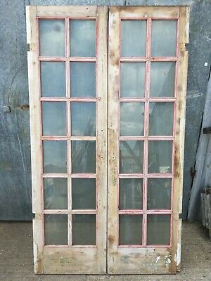 """47 5/8""""x82 5/8"""" Reclaimed Pair Glazed Old Stripped Pine Internal French Doors"""