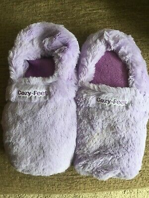 0be151509 MICROWAVEABLE FAUX FUR Slipper Boots Warm Up Shoes Booties Adults ...