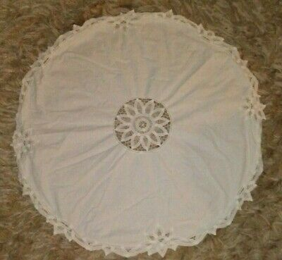 """34"""" Round Battenburg Lace on Cotton Table Doily Scarf Topper Crafting Reuse"""