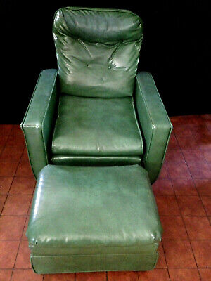 Antique 1949 STREIT Slumber CHAIR & FOOT STOOL Green Vinyl Reclining Club Chair