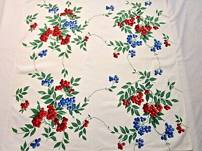 Vintage Tablecloth Wilendur Blueberry Cherry Label Topper Runner 34X34 Square