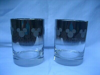 Vtg Disney MICKEY MOUSE Glitter GLASS SILVER Chrome FADE Old Fashioned Barware