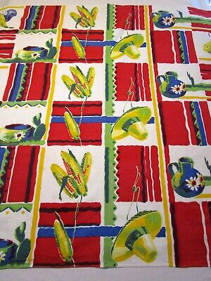 Vintage Tablecloth Wilendur Mexican Sombrero Corn Cactus Gourds Print Square