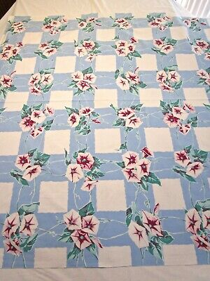 Vintage Tablecloth Wilendur Morning Glory Blue Red Teal Green 50S Print 50X53