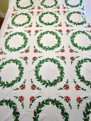 Vintage Tablecloth Wilendur ? Christmas Holly Leave Berry Wreath Banquet 53X83