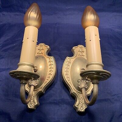 Newly Rewired Pair antique yellow brass sconces 75E